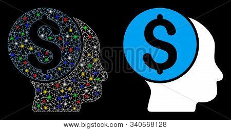 Glowing Mesh Banker Icon With Glitter Effect. Abstract Illuminated Model Of Banker. Shiny Wire Frame