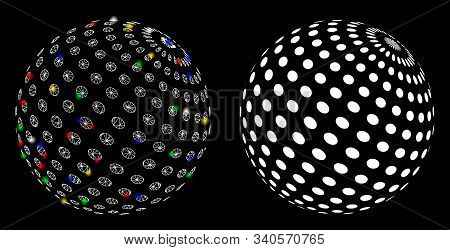 Glossy Mesh Abstract Dotted Sphere Icon With Sparkle Effect. Abstract Illuminated Model Of Abstract