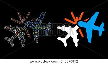 Glowing Mesh Airplane Collision Icon With Sparkle Effect. Abstract Illuminated Model Of Airplane Col