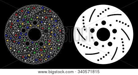 Glowing Mesh Brake Disk Icon With Glitter Effect. Abstract Illuminated Model Of Brake Disk. Shiny Wi