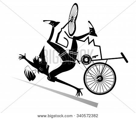 Cyclist Falling Down From The Bicycle Isolated Illustrationю Cyclist Falling Down From The Broken Bi
