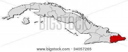 Map Of Cuba, Guantánamo Highlighted