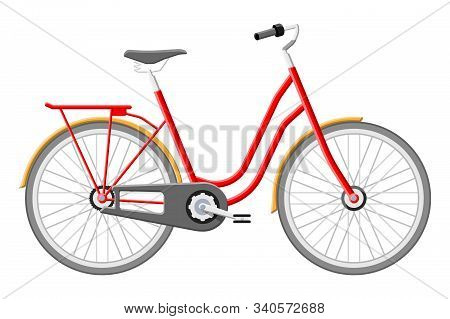 Old City Bicycle. Vintage Red Bike Isolated On White. Transportation Vehicle. Vector Illustration In