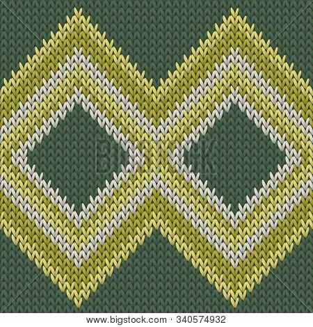 Fashionable Rhombus Argyle Christmas Knit Geometric Vector Seamless. Jacquard Knitting Pattern Imita