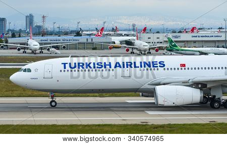 Istanbul, Turkey - Sep 30, 2018. Tc-jnh Turkish Airlines Airbus A330-300 Taxiing On Runway Of Istanb