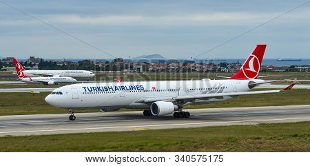 Istanbul, Turkey - Sep 30, 2018. Tc-lnd Turkish Airlines Airbus A330-3000 Taxiing On Runway Of Istan