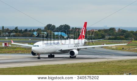 Istanbul, Turkey - Sep 30, 2018. Tc-lnd Turkish Airlines Airbus A330-300 Taxiing On Runway Of Istanb