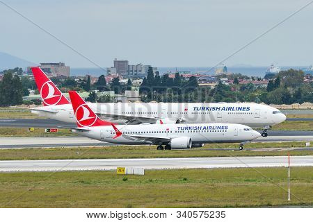 Istanbul, Turkey - Sep 30, 2018. Tc-lcf Turkish Airlines Boeing 737-8 Max Taxiing On Runway Of Istan