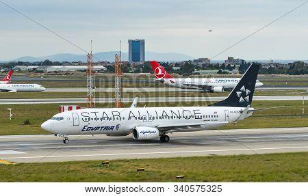 Istanbul, Turkey - Sep 30, 2018. Su-gcs Egyptair Boeing 737-800 (star Alliance) Taxiing On Runway Of