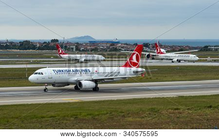 Istanbul, Turkey - Sep 30, 2018. Tc-jpt Turkish Airlines Airbus A320 Taxiing On Runway Of Istanbul A