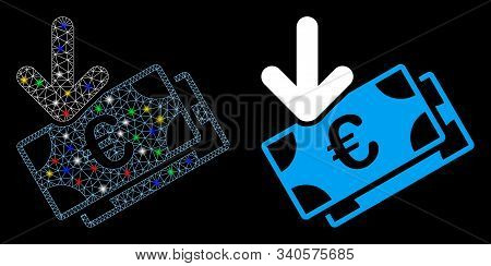 Glossy Mesh Euro Income Banknotes Icon With Glitter Effect. Abstract Illuminated Model Of Euro Incom