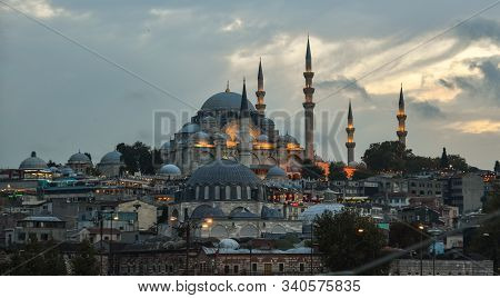 Ancient Mosque At Twilight In Istanbul, Turkey