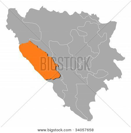 Map Of Bosnia And Herzegovina, Canton 10 Highlighted