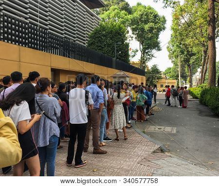 Saigon, Vietnam - Mar 6, 2019. People Line Up Outside The Embassy Of Japan For Consular Services In