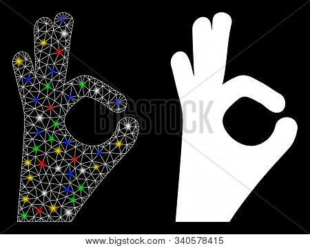 Glowing Mesh Okay Gesture Icon With Glitter Effect. Abstract Illuminated Model Of Okay Gesture. Shin