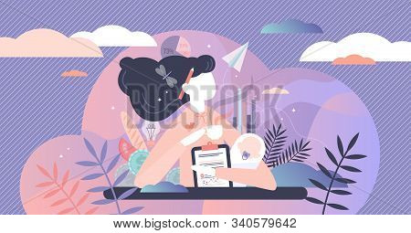 Multitasking Busy Mom And Business Woman,vector Illustration Tiny Person Concept. A Woman Trying To