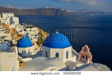 Santorini, Greece - Oct 8, 2018. Landscape Of Santorini Island, Greece. Santorini Is One Of The Most