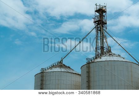 Agricultural Silo At Feed Mill Factory. Silo For Store And Drying Grain, Wheat, Corn At Farm. Agricu