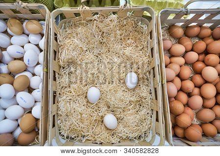 BERLIN, GERMANY - CIRCA SEPTEMBER, 2019: chicken eggs on display at the Kaufhaus des Westens (KaDeWe) department store in Berlin.