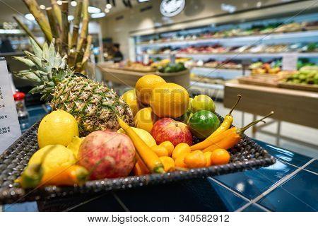 BERLIN, GERMANY - CIRCA SEPTEMBER, 2019: fruits on display at SanLucar at Kaufhaus des Westens (KaDeWe) department store in Berlin.
