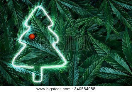Creative Fluorescent Christmas Background Mockup Of Hemp Leaves, Marijuana And Christmas Tree Neon S