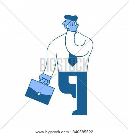 Businessman, A Man In A Business Shirt With A Briefcase Walking And Talking On The Phone. Vector Ill