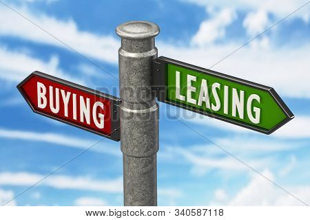 Signpost With Buying And Leasing Arrows Against The Blue Sky. 3d Illustration.