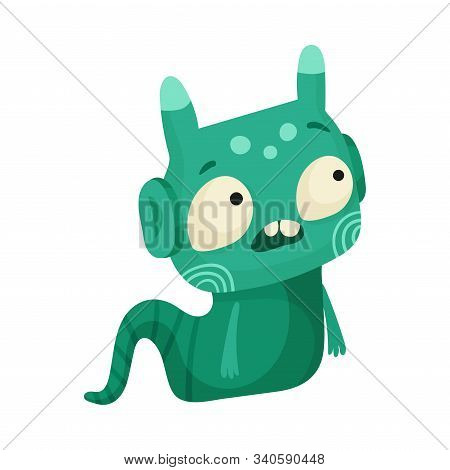 Funny Monster With Horns Creeping On The Ground Vector Illustration