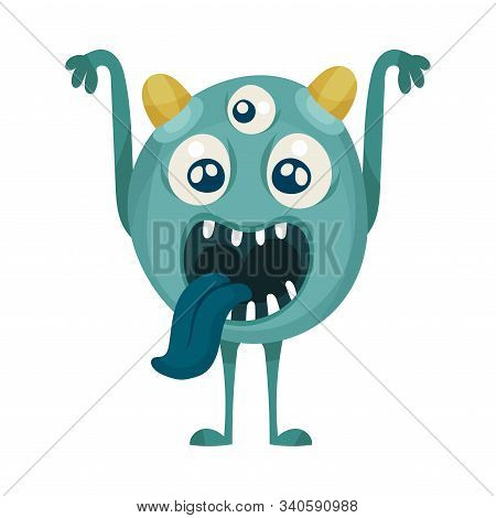 Naughty Multiocular Monster Showing Tongue Vector Illustration