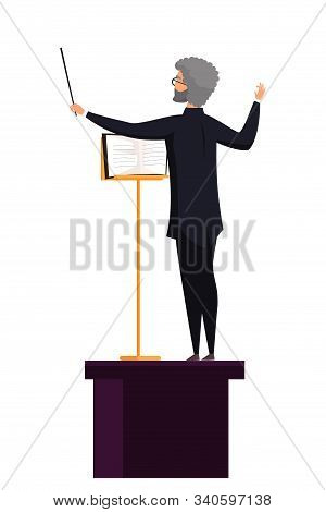 Conducting Man With Notes Flat Illustration. Male Orchestra Conductor On Tribune Cartoon Character I