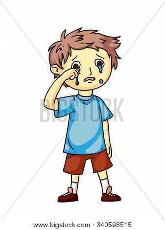 Boy Kid Crying After Quarrel Flat Cartoon. Sad, Offended Children. Childhood. Emotions And Expressio