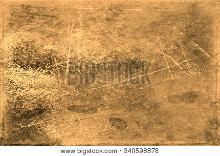 Old Photo Texture With Stains And Scratches. Vintage And Antique Art Concept. Front View Of Blank Ol