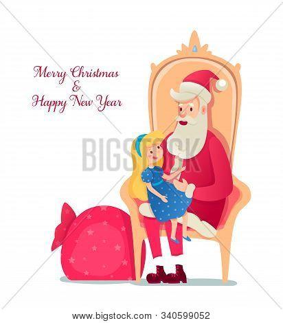 Santa Claus Sitting On Armchair Flat Illustration. Girl Telling Verse, Santa Cartoon Characters. Chr