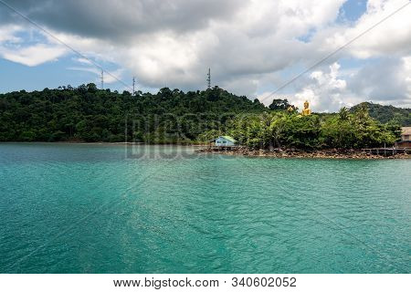 Buddha Statue On The Island With Pier And Hut, Vacation In The Holiday