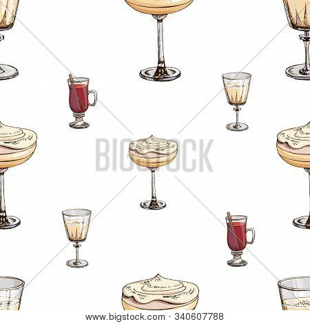 Vector Seamless Pattern With New Year Drinks Isolated On White. Christmas Print With Beverages. Endl