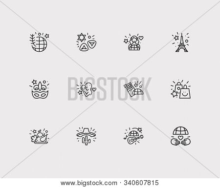 Festival Icons Set. Thanksgiving Day And Festival Icons With Mothers Day, International Women Day An