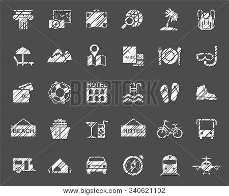 Travel, Vacation, Tourism, Vacation, Icons, Pencil Shading, Vector, White. Different Types Of Holida