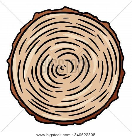 Cross Section Of Tree Stump. Wooden Cut Section Doodle. Cartoon Comic Style Illustration Of Wood. Me