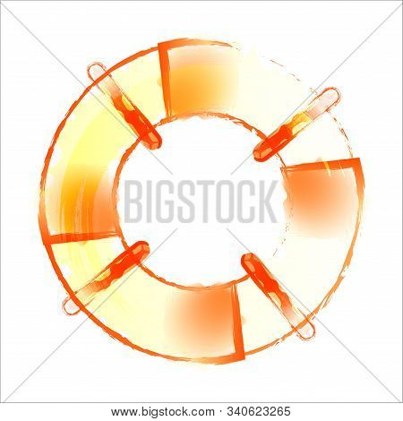 Striped And White Lifebuoy With Rope Around. Equipment For Safety In Water. Standard Inflatable Ring