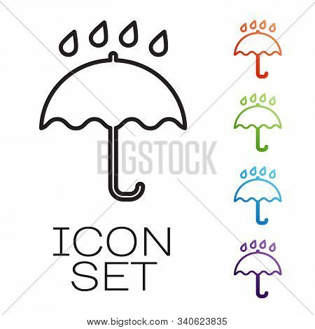 Black Line Umbrella And Rain Drops Icon Isolated On White Background. Waterproof Icon. Protection, S