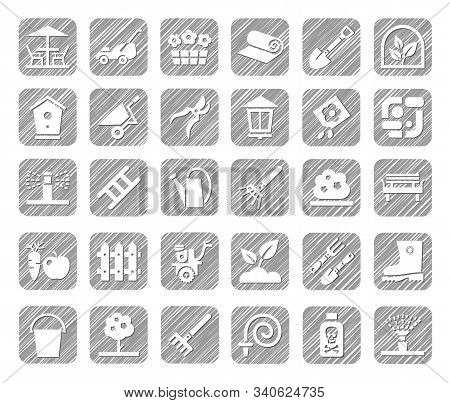 Landscape Design, Icons, Monochrome, Vector, Shading With A Pencil. Arrangement Of Land. Equipment F