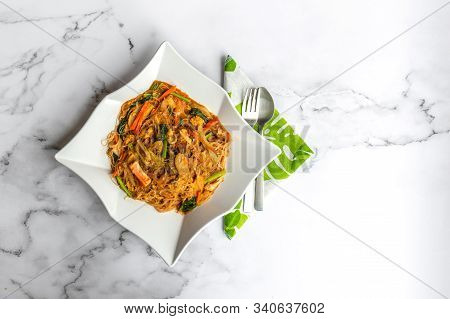 Hailam Mee Hoon Or Known As Rice Vermicelli With Gravy, Is An Asia Dish Braised With Dark And Light