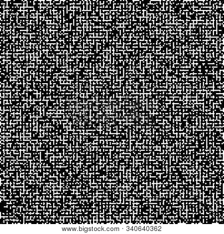 Pixel Art Black And White Vector Bw Background With Random Chaotic Pixels