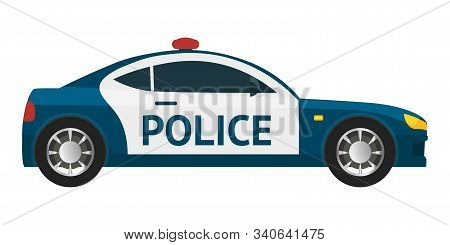Police Car Flat Vector Illustration. 911, Emergency Service Department Vehicle Isolated Clipart On W