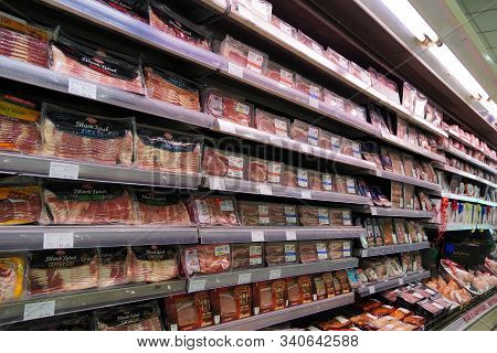 Meat, Supermarket, Butcher. Packets Of Meat At The Supermarket. Meat Aisle In Supermarket. Packaged