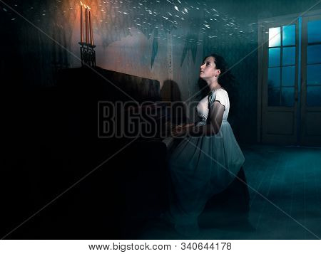 The Mystical Plot Of The Girl Musician In The Moonlight In An Abandoned House