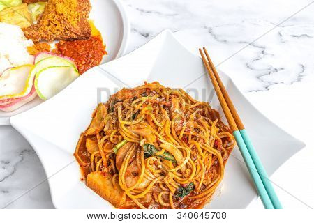Mee Goreng, An Asian Malay Spicy Fried Noodle Dish, Originating From Indonesia, Common In Malaysia,
