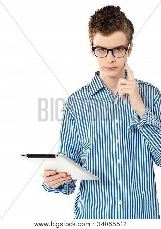 Trendy Techy Boy Thinking Something