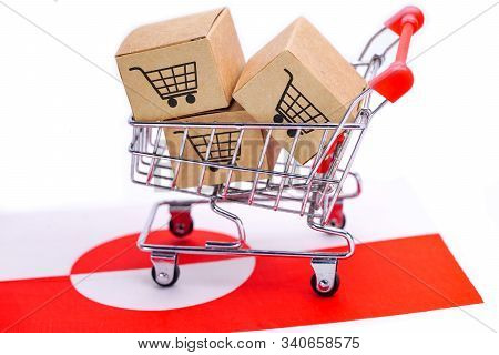 Box With Shopping Cart Logo And Greenland Flag : Import Export Shopping Online Or Ecommerce Finance