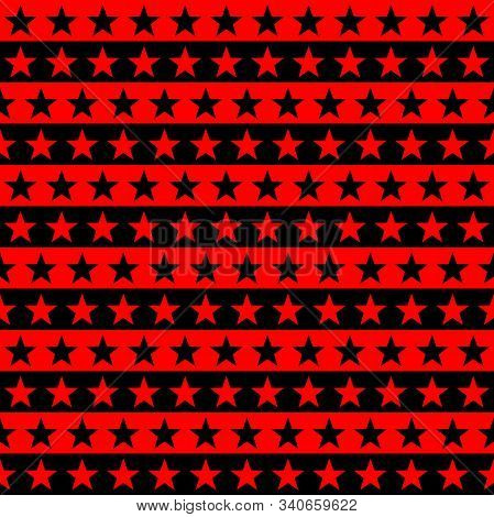 Red, Black Modern Star Stripes Seamless Pattern Vector Background.